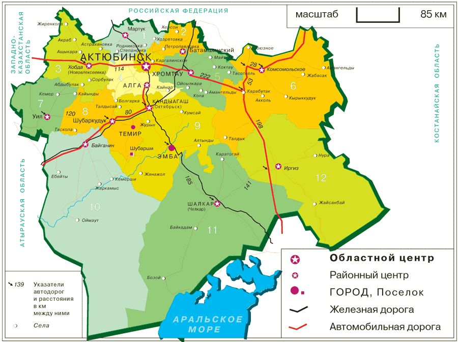 Карта актюбинской области